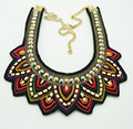 Fashion Women Statement Necklace Gold Plated Seed Bead CCB Bead Flower Shape Bohemia Handmade Fabric Neck Choker Necklace A Pcs