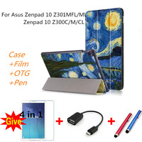 Cases For Zenpad 10 Z301MFL Colorful Drawing Leather Cover Tablets Smart Case For Asus Zenpad 10