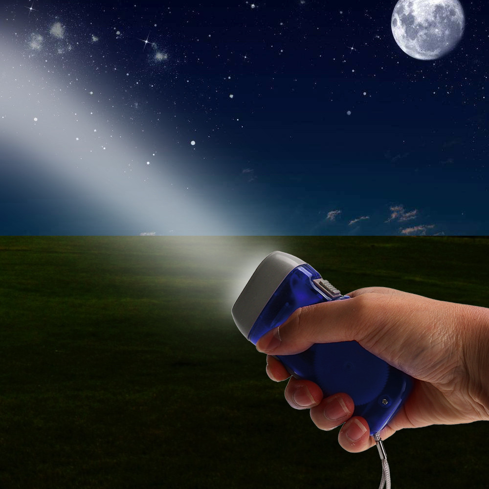 Hand Battery Free Generator White 3-LED Flashlight - Blue Z0607 ...