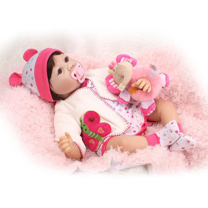 22 Inch Reborn Baby Dolls Toy Soft Silicone Realistic Newborn Baby Doll Lifelike Babies Synthetic hair Kids Birthday Xmas Gift