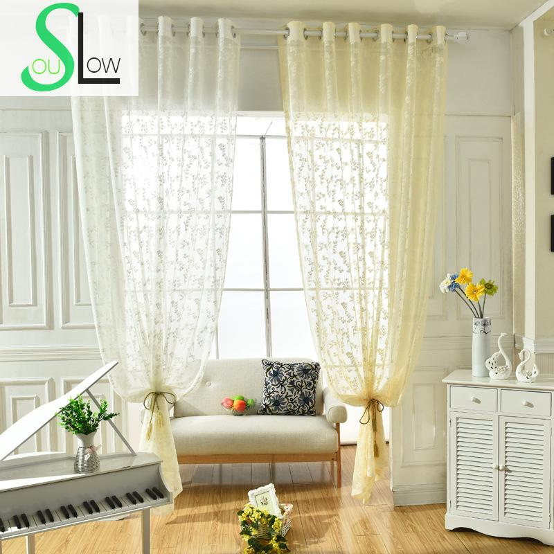 slow soul white beige korean garden floral jacquard curtain bedroom living room tulle curtains
