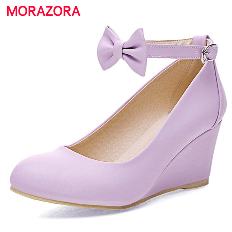 ФОТО MORAZORA PU soft leather shoes woman high heel 7cm wedges shoes fashion sweet women pumps party buckle large size 34-43