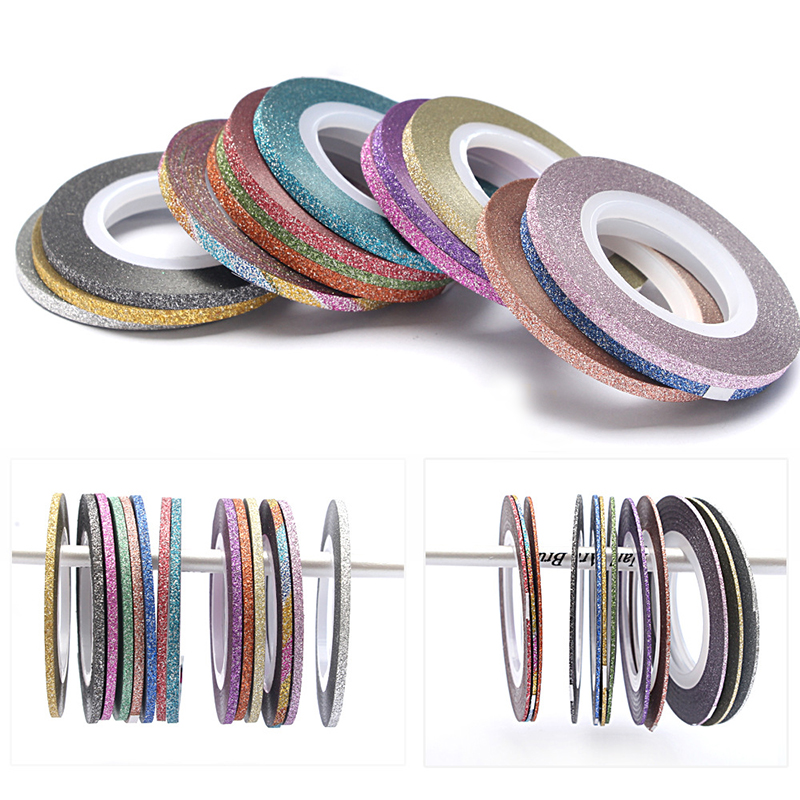 Image 2 - 2018 Charms 1 Roll 1mm/2mm/3mm Laser Glitter Striping Tape Line Nail Art Decoration Beauty Nail Accessories for DIY-in Stickers & Decals from Beauty & Health