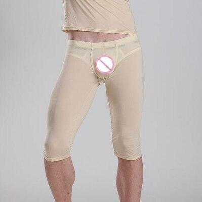 1PCS Men Transparent Capris Sexy Ice Silk Pants Low Waist Five Pants Sexy Tight Convex Pouch Pocket Pajama Breathable Trousers