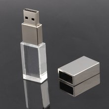 free shipping 4GB 8GB 16GB 32GB New Crystal Transparent Rectangle Usb Flash Drive for windows 8 10