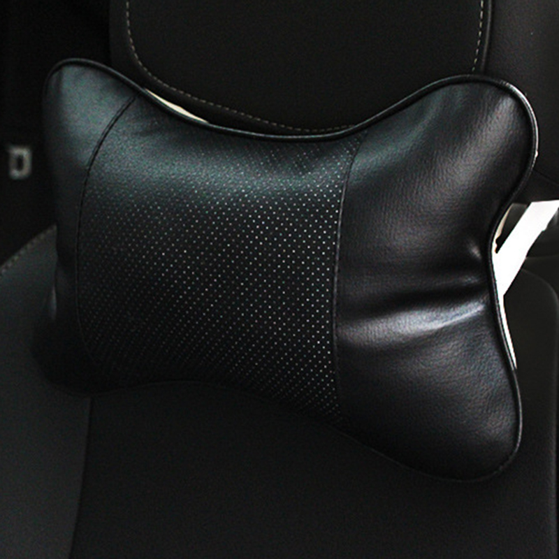 For Car Styling 2PCS Leather PP Cotton Car Seat Head Neck Rest Cushion Pad Headrest Pillow For Car Accessories