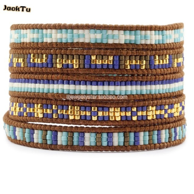 2017 mixed color import seed beads leather wrap bracelet