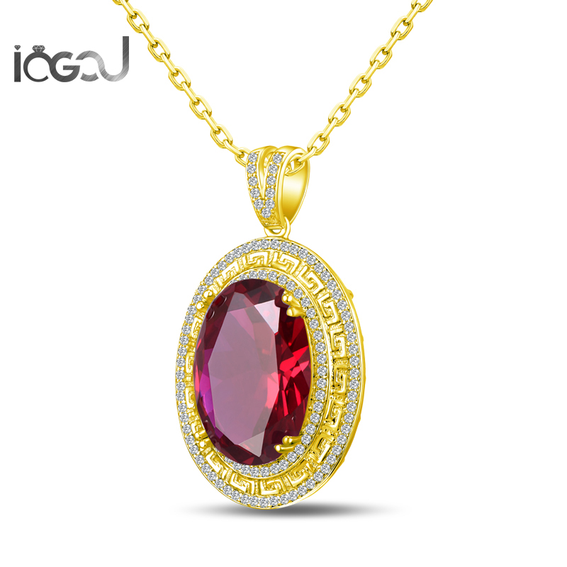 IOGOU Oval Cut 925 Sterling Silver Red Sona Simulated Yellow Gold Color Pendants  HIPHOP Wedding Party 17x24mm Jewelry GiftsIOGOU Oval Cut 925 Sterling Silver Red Sona Simulated Yellow Gold Color Pendants  HIPHOP Wedding Party 17x24mm Jewelry Gifts