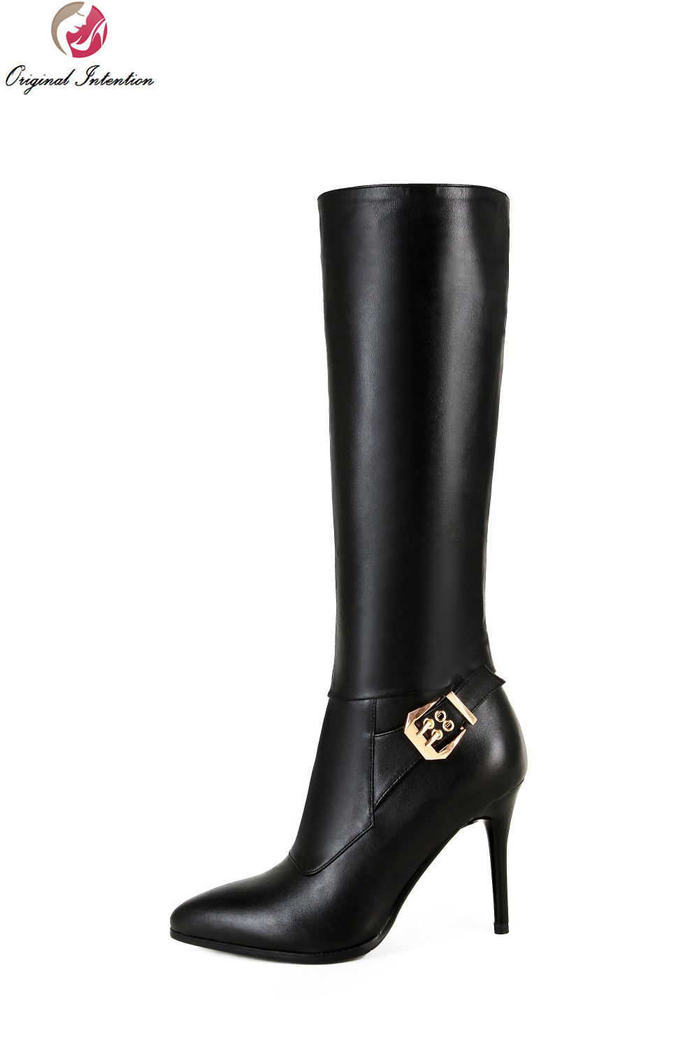 Original Intention High-quality Women Knee High Boots Nice Pointed Toe Thin Heels Boots Popular Black Shoes Woman US Size 4-10.5 original intention high quality women knee high boots nice pointed toe thin heels boots popular black shoes woman us size 4 10 5