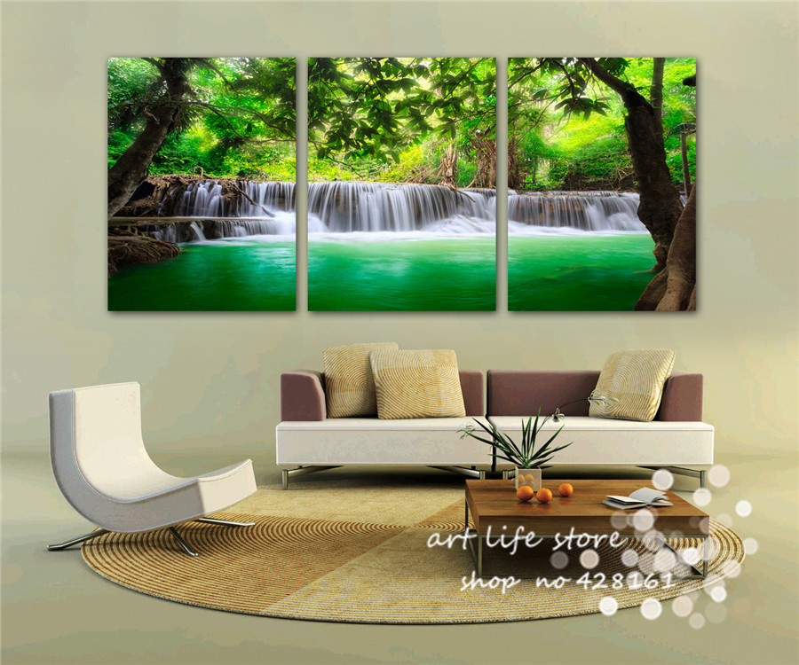 Wall Decor Canvas Painting For Living Room Art Pictures Amazing Scenery With Tree And Cute River Through Pretty Life In Calligraphy From Home