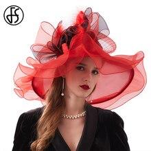 FS Мода Кентукки шляпа котелок свадебные чай вечерние вуалетки для женщин органзы с большими широкими полями женские летние пляжные шляпы от солнца