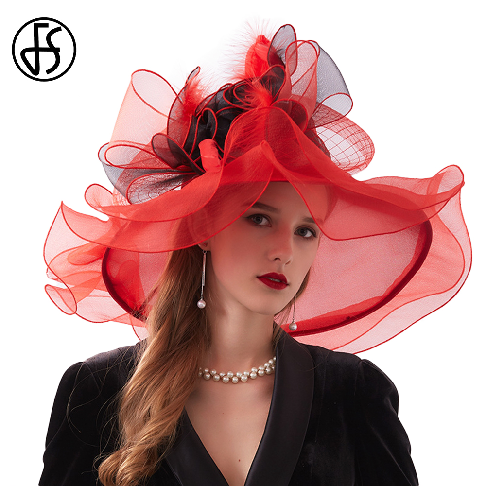 FS Fashion Kentucky Derby Hats Wedding Tea Party Fascinators For Women Organza Large Wide Brim Ladies Summer Beach Sun Hat 2019