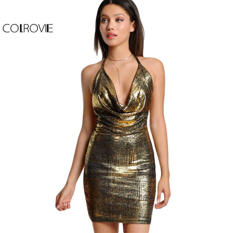 COLROVIE, платье с открытой спиной, Драпированное, на шее, с завязками, металлическое, золотое, с воротником-хомутом, без рукавов, облегающее платье, женское сексуальное рождественское платье