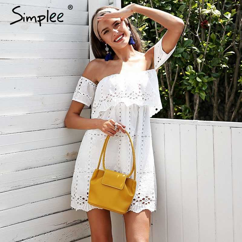 29442a988519b Simplee Off shoulder lace white dress Hollow out streetwear casual women  dress Loose short summer dress female vestidos 2018