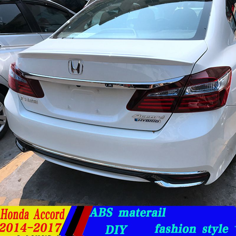 2017 Honda Accord White >> use for honda 2014 2017 model accord lip spoiler High Quality ABS Material Car Rear Wing Primer ...