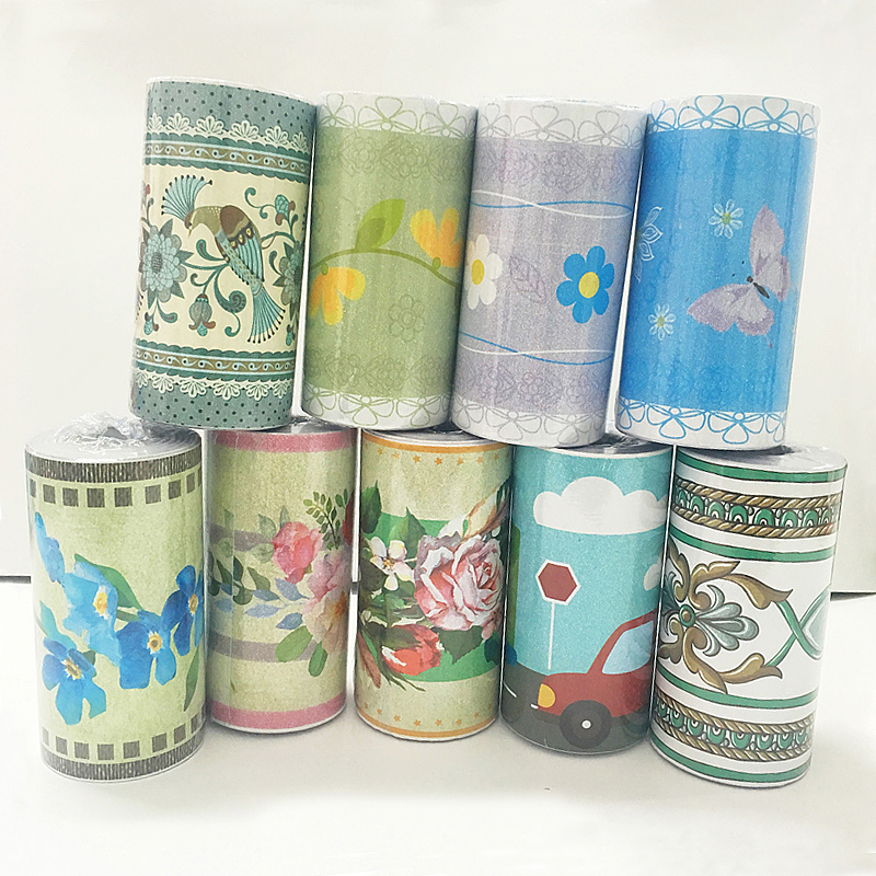 10m PVC Flower Wallpaper Border Waist line 3d Wall Sticker for Washing Room Bathroom Kitchen Tiles Self Adhesive 3d Stickers