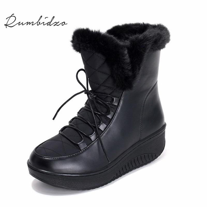купить Rumbidzo 2017 New Women Boots Platform Wedge Snow Boots Ankle Bootie Lace up Faux Fur Woman Bootie Winter Bootie Sapatos дешево
