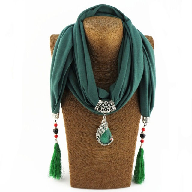 Scarf Necklace Solid Color with Bird Art Pendant EID2018