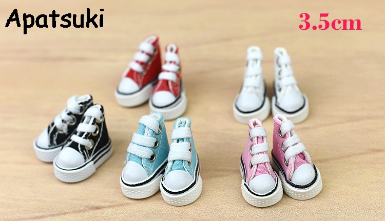 1Pair 3.5cm Fashion Canvas Shoes For Blythe Dolls Causal Shoes For Barbie Doll House Mini Shoes For 1/6 BJD Doll Accessories image