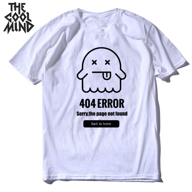 COOLMIND top quality 100% cotton men T shirt  summer loose knitted 404 problem tshirt o-neck t-shirt tee IN0302