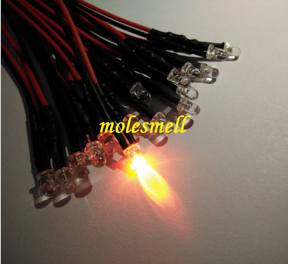 100pcs 3mm 12v Orange 12V DC water clear round orange led Pre-Wired 20cm LED Light lamp