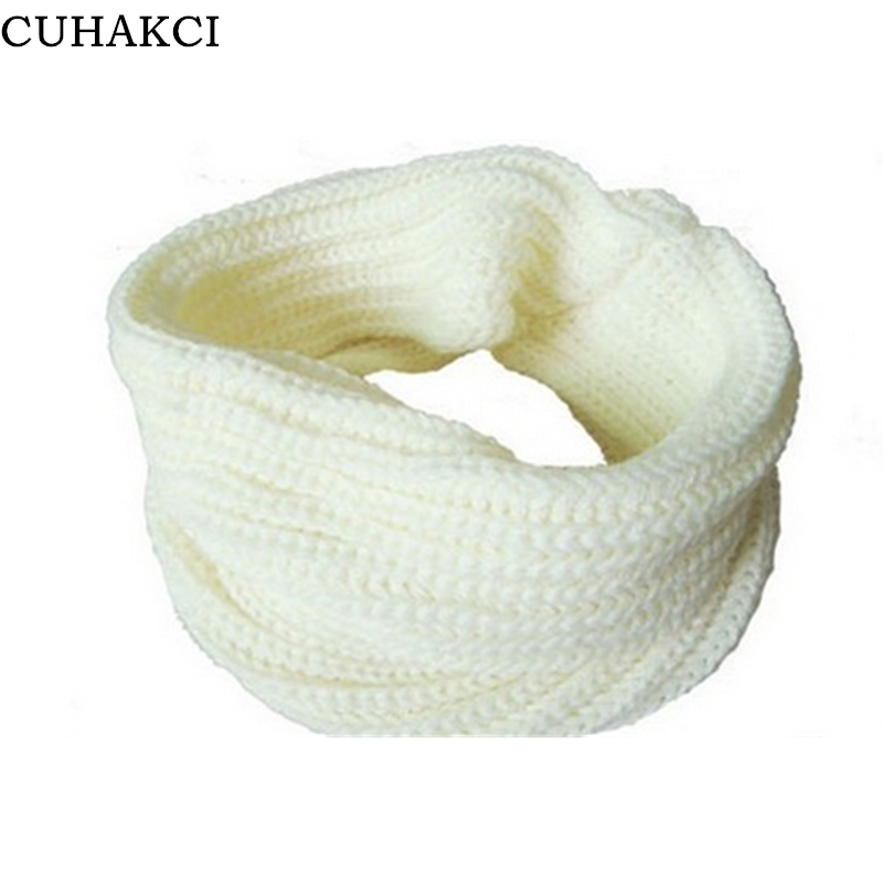 CUHAKCI Hot Sale Korean Winter Scarf Women Warm Knit Neck Circle Wool Blend Ring Cowl Snood Ring Scarves Female Scarf Wrap