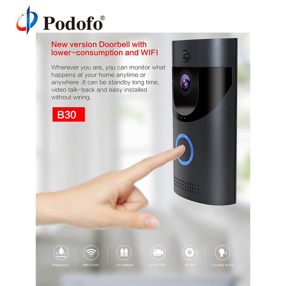 Podofo B30 Smart Doorbell Wireless WiFi Intercom Video Door Bell Camera Night Vision Visual Record Remote