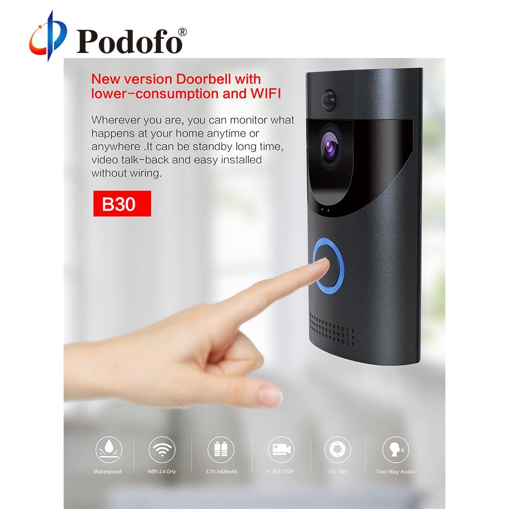 Podofo B30 Smart Doorbell Wireless WiFi Intercom Video Door Bell Camera Night Vision Visual Record Remote Home Security Monitor