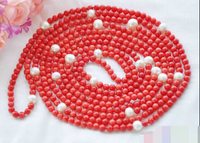 06944 round freshwater white pearl red coral bead necklace