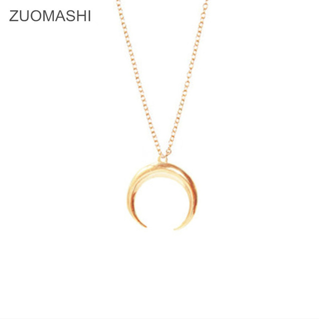 Hot selling fashion jewelry Crescent horns moon Simple pendant necklace party gift for women girl Collier de lune femme