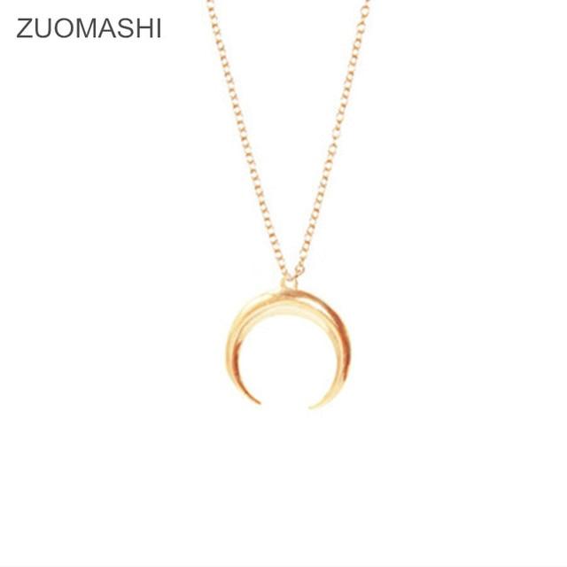 Vente chaude bijoux de mode Croissant cornes lune Simple pendentif collier cadeau de fête pour les femmes fille Collier de lune femme