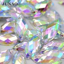 JUNAO-diamante de imitación para coser Cristal AB, 7x15mm, 100 piezas, piedras acrílicas planas, apliques para coser en Ojo de caballo, cristales de Strass para costura