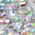 JUNAO 7*15mm Sewing Crystal AB Rhinestones Applique Sew On Horse Eye Crystal Stones Flatback Acrylic Strass Diamond For Clothes