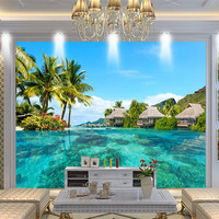 Custom 3D Photo Wallpaper HD Maldives Sea Beach Natural Landscape Photography Living Room TV Background Wall
