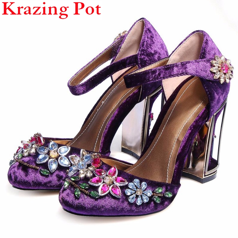 Krazing Pot fashion big size brand shoes crystal shallow bird cages high heel women pumps flower casual party wedding shoes L70