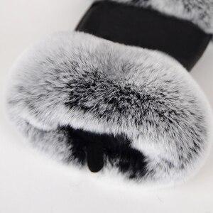Image 5 - חורף אופנה שחור חצי אצבע כפפות עור אמיתי כבשים עור ארנב פרווה חצי אצבע ללא אצבעות כפפות ארנב פרווה פה