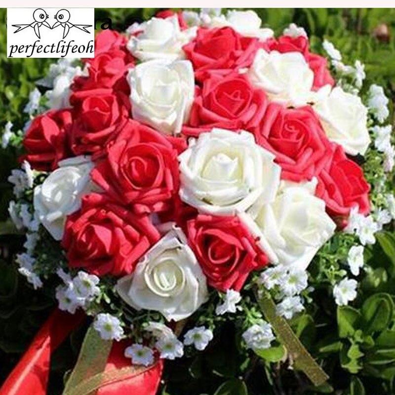 Diskret Perfectlifeoh Brautjungfer Braut Bouquets Künstliche Rose Hochzeit Bouquet