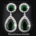 Fashion Silver Plated Created Emerald Green Cubic Zirconia Stone Round And Water Drop Dangle Long Earrings For Women ER017