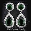 Moda de Prata Banhado Criado Verde Esmeralda Cubic Zirconia Pedra Redonda E Da Gota Da Água Oscila Brincos Longos Para As Mulheres ER017