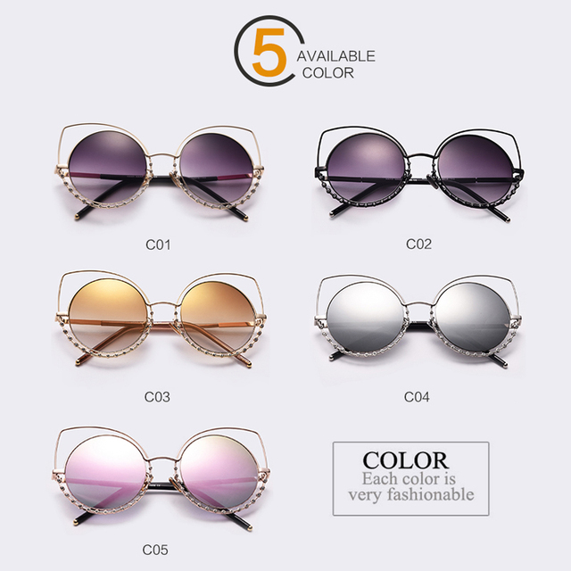 Fashion Sexy Cat Eye Sunglasses Women Coating Reflective Mirror Diamond Decoration Glasses Female Shades UV400 WL1016