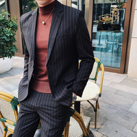 Business Mens Suits Social Dress Pants Wedding Men Grey Tuxedo Black Suits Mens Striped Terno Masculino Slim Fit Blazer/Pant