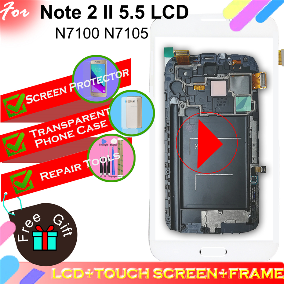 For Samsung Galaxy Note 2 N7100 N7105 LCD Touch Screen Digitizer Assembly BEZEL Frame with Home Button image