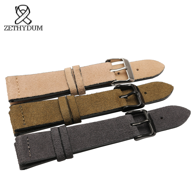 Genuine leather watch strap 16 18 19 20 21 22 23mm womans grind arenaceous leather watchband brown blue black color bracelet