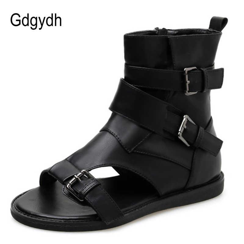 Gdgydh เซ็กซี่หัวเข็มขัดผู้หญิง Vintage Gladiator รองเท้าแตะผู้หญิงรองเท้ารองเท้าหนังแบนผ้าพันคอสีดำเปิดนิ้วเท้าข้อเท้า Drop