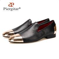 Piergitar/2018 Новый стиль ручной работы черные мужские туфли из натуральной кожи с передней и задней Золото Металл Мужская мода Лоферы без застеж