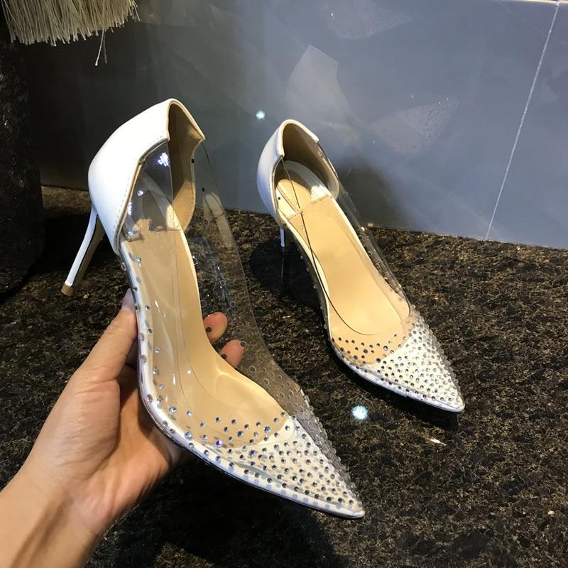 무료 배송 패션 여성 펌프스 캐주얼 디자이너 누드 특허 가죽 스트 라스 크리스탈 포인트 발가락 펌프스 하이힐 10 cm 8 cm-에서여성용 펌프부터 신발 의  그룹 1