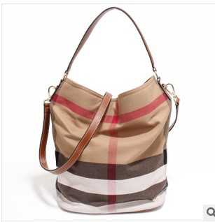 ZEY Brand 100% Real Leather & Canvas Bag Plaid casual hobo bag for ...