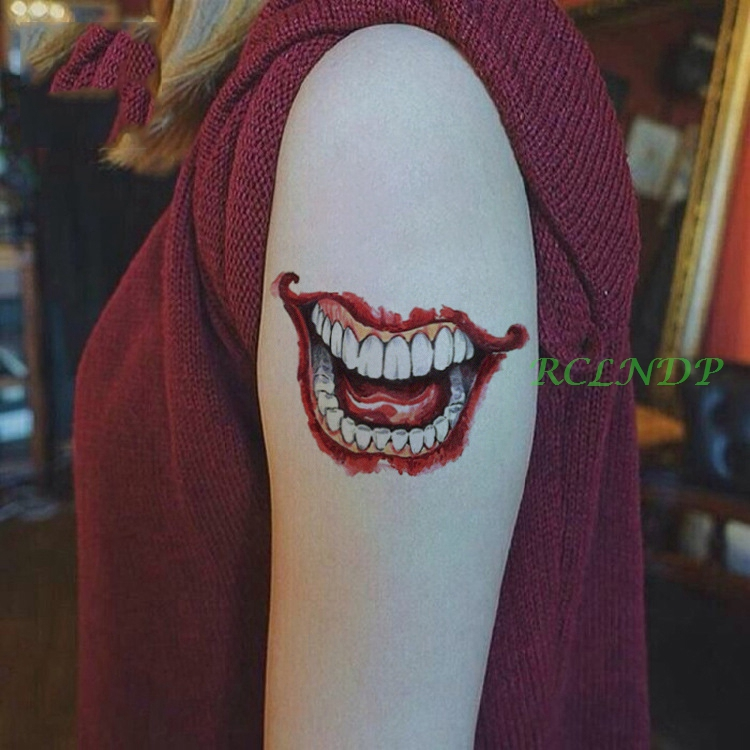 Joker Tatto Hand: Waterproof Temporary Tattoo Sticker 3D Halloween Mouth