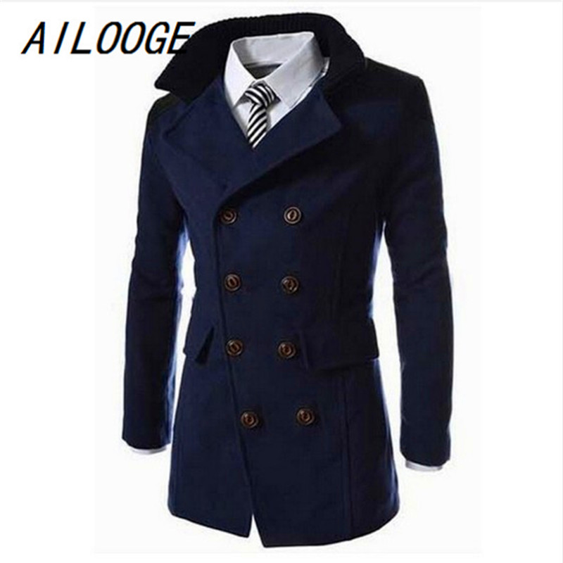 AILOOGE Autumn Long Wool Coat Men Fashion Turn-down Collar Wool Blend Double Breasted Pea Coat Jacket Men Brand Overcoats