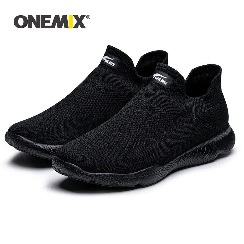 Chegada dos Homens Sapatos de Malha Deslizamento em Tenis Onemix Nova Tênis Esportivos Meias Respirável Formadores Leve Sapatos Caminhada Sapatilha 2020